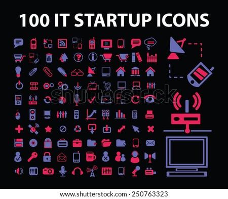 information technology start up icons, signs, illustrations set, vector - stock vector