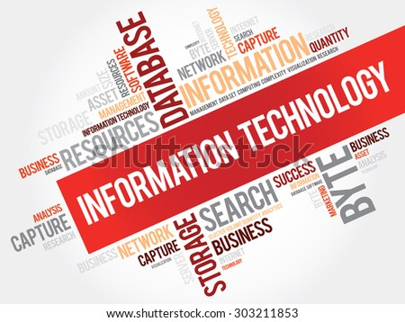 Information technology word cloud, business concept - stock vector