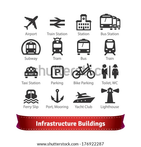Infrastructure Buildings Icon Set. Road and Water City Transportation Stations and Parking Signs. For Use With Maps and Internet Services Interfaces. - stock vector