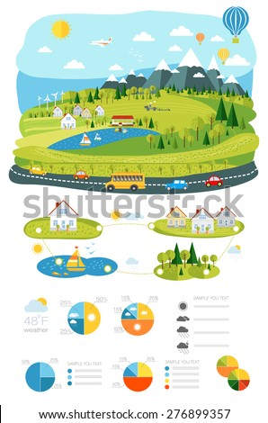 infrastructure flat, landscape infographic picture with graphics travel and style life elements for your design - stock vector