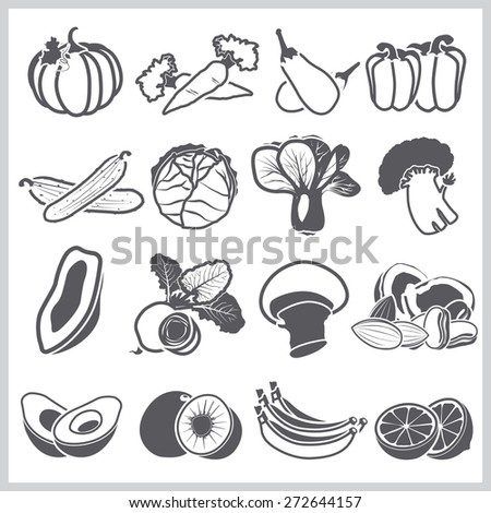 Ingredients Icons Set Vegetable And Fruit For Nutrition Food Vector Design - stock vector