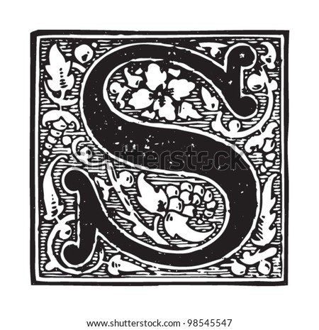 Initial - letter S / vintage illustrations from Die Frau als Hausarztin 1911 - stock vector
