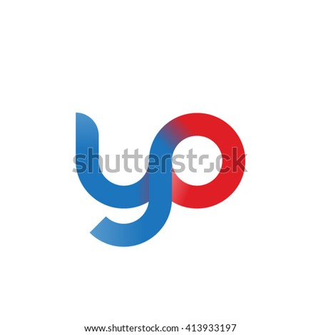 initial letter yo linked round lowercase logo blue red - stock vector