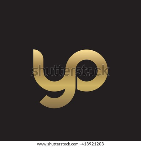 initial letter yo linked round lowercase logo gold black background - stock vector
