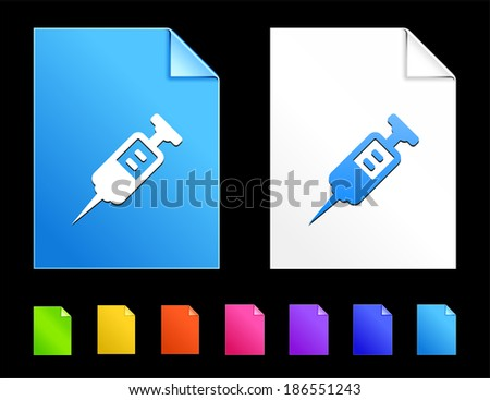Injection Icons on Colorful Paper Document Collection - stock vector