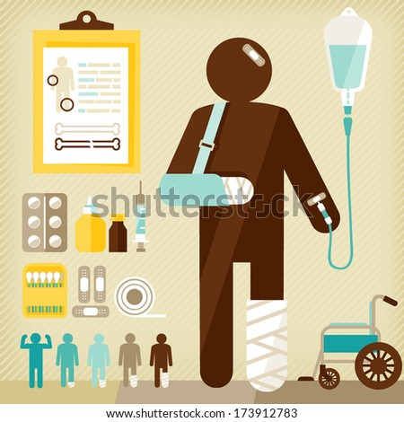 injured  - stock vector