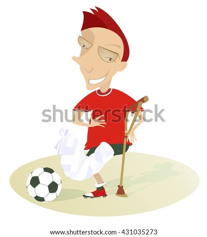Injured football player. Funny football player with bandage on the foot and crutch  - stock vector