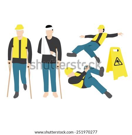 injured worker - stock vector