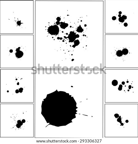 ink and splashes vector background set for design use. - stock vector