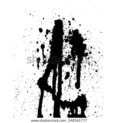 Ink blot collection isolated on white background - stock vector