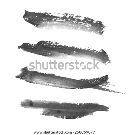 Ink brush hand drawn isolated black strokes on white background. Vector abstract painted illustration. Set of smears for design elements, card, banner, decor, template, scrapbook, wallpaper, print - stock vector