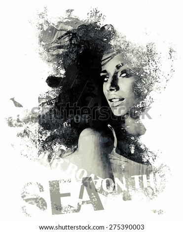 Ink composition with a girl and text - stock vector