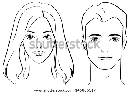 Ink Drawing of Male and Female Faces. - stock vector