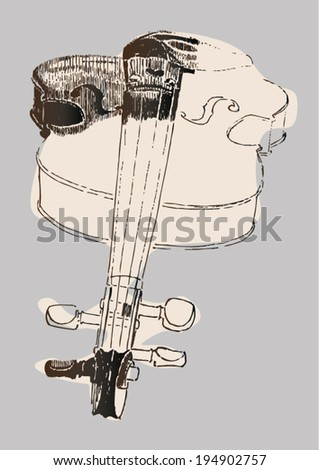 Ink drawing of violin. Linear, dots. - stock vector