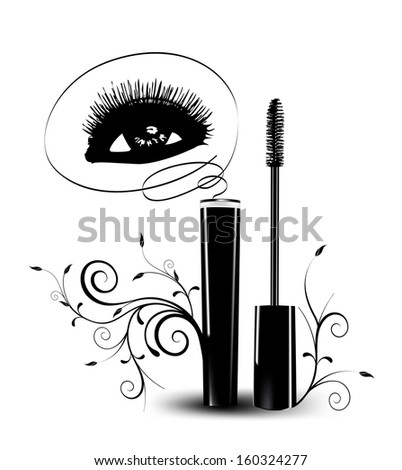 Ink for eyelashes with ornament. Vector - stock vector