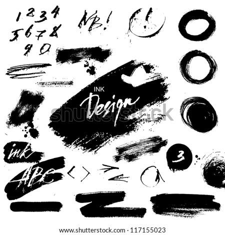 Ink grunge design elements - stock vector
