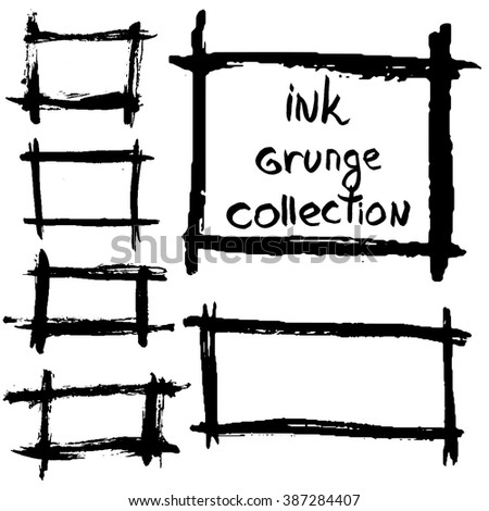 Ink grunge frames collection, vector - stock vector