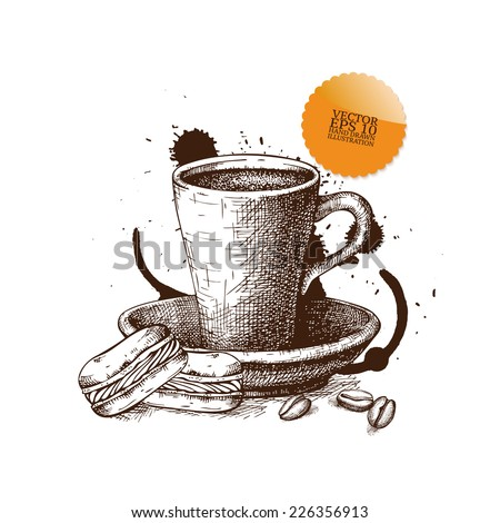 Ink hand drawn coffee cup with macaroons illustration on white background.Vintage vector coffee illustration. I love coffee - stock vector