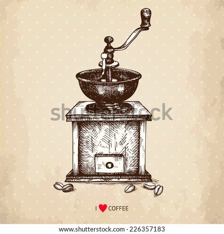 Ink hand drawn coffee grinder illustration on aged background. Vintage vector coffee illustration. - stock vector