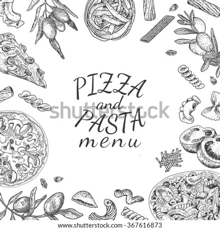 Ink hand drawn pizza and pasta menu template - stock vector