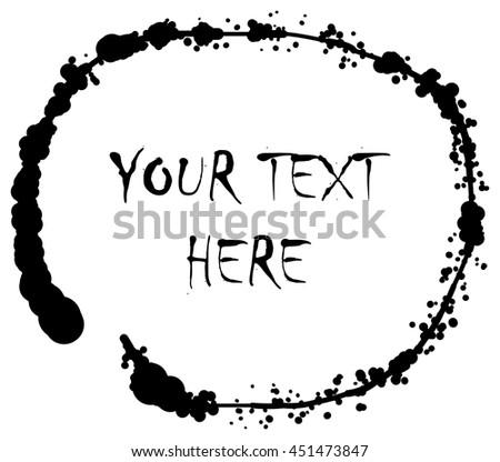 Ink line doodle grunge vector round scribble shape logo - stock vector