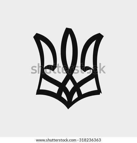 Ink sketch emblem of Ukraine. Isolated on light gray background. Vector illustration.