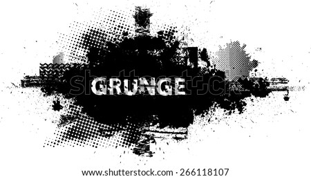 Ink Splash Background . Black Paint Splattered Shape . Grunge Background Texture . Vector Distress Background . Cracked Banner . Distress Texture . Grunge Texture . - stock vector