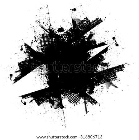 Ink Splash. Vector Grunge Background. Circle Brush Stroke . Distressed Shape . - stock vector