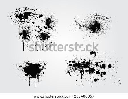 Ink splashes set.Abstract splash set for design use. - stock vector