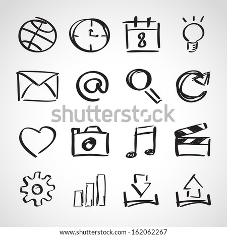 Ink style hand drawn sketch set - computer and web icons - stock vector