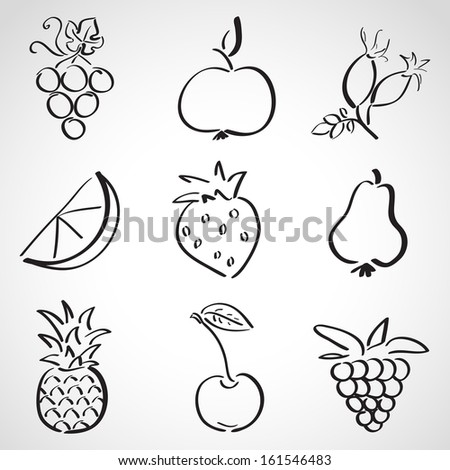 Ink style hand drawn sketch set - fruits and berries - stock vector