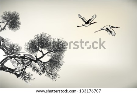 Ink style Pine Tree and crane - stock vector