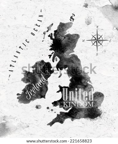 Ink United kingdom and Scotland map in vector format black and white graphics in vintage style - stock vector
