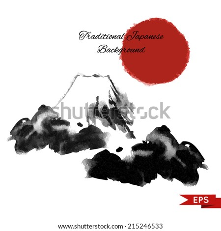 Ink vector  illustration of mountains in traditional style. - stock vector