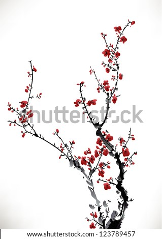 ink winter sweet - stock vector