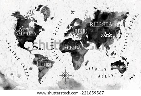 Ink world map in vector format black and white graphics in vintage style - stock vector
