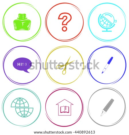 inkstand, query sign, globe and loupe, chat symbol, scissors, ink pen, shift globe, library, felt pen. Education set. Internet button. Vector icons. - stock vector