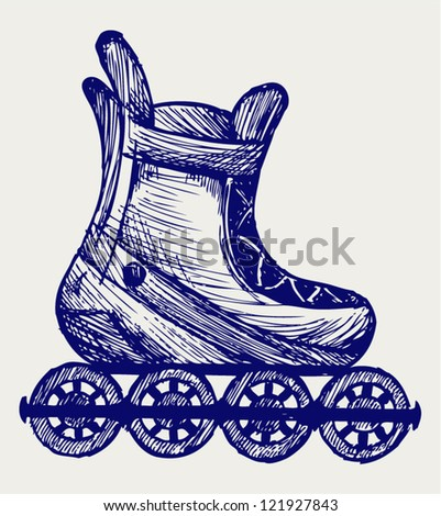 Inline skate. Doodle style - stock vector