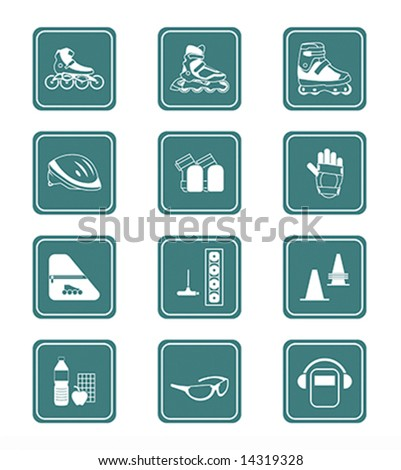 Inline skating boots, protection, accessories and related objects icon-set - stock vector