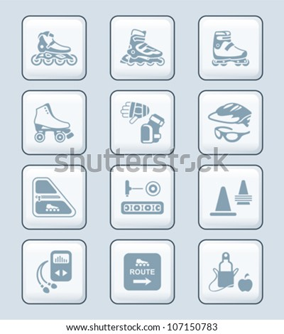 Inline skating icons | TECH series - stock vector