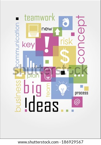 Innovate business concept made with words drawing a light bulb.Concept vector illustration. Isolated on colored stylish background.Vector illustration modern template design - stock vector