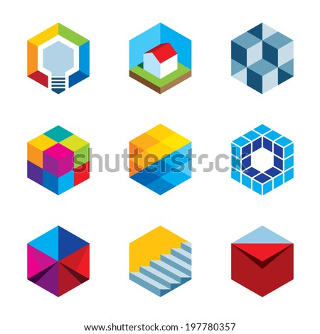 Innovation building future real estate virtual game cube logo icons - stock vector