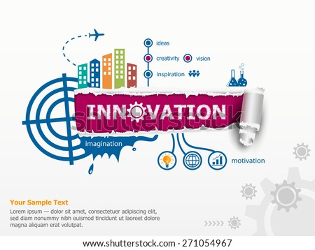 Innovation concept and breakthrough paper hole with ragged edges with a space for your message.  - stock vector