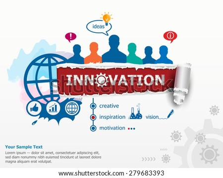 Innovation concept and group of people. Set of flat design illustration concepts for business, consulting, finance, management, career, human resources.   - stock vector