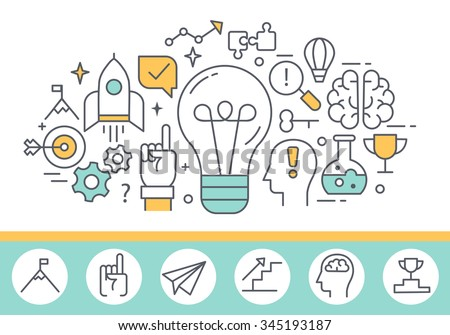 Innovation concept and human mind process illustration, thin line style, flat design - stock vector