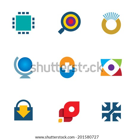 Innovation 3d technology online search download icon set inspiration logo  - stock vector