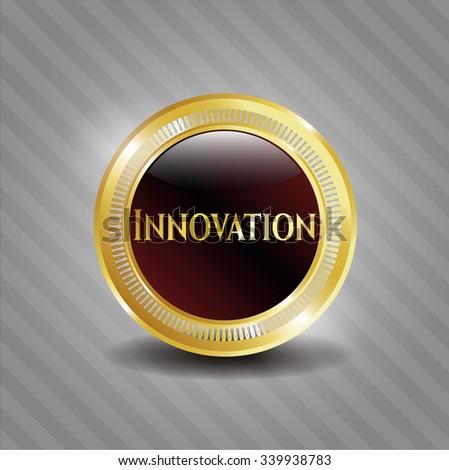 Innovation golden badge - stock vector
