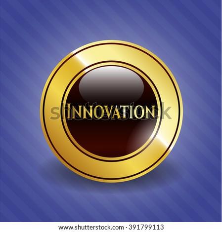 Innovation golden emblem or badge - stock vector
