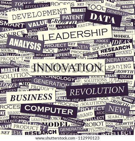 INNOVATION. Seamless design pattern. Marketing concept word. - stock vector
