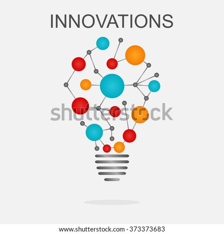 Innovations concept illustration. Light bulb with colored cells  - stock vector